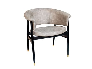 Upholstered fabric chair with armrests BLOOM