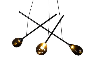 LED glass and steel pendant lamp BLOW