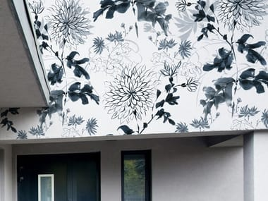 Adhesive outdoor wallpaper with floral pattern BLUE FLOWERS