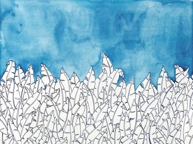 Papel de parede ecológico lavável livre de PVC BLUE FOREST