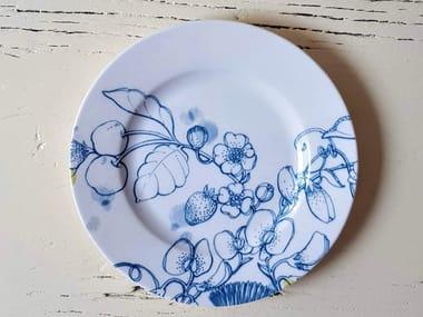 "Porcelain dessert plate BLUE SUMMER BREAD PLATE ""C"""