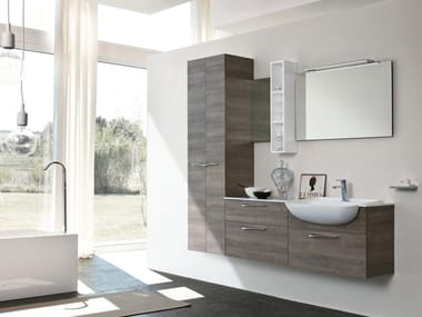 Wall-mounted vanity unit with mirror BLUES 01