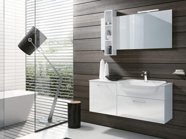 Wall-mounted vanity unit with mirror BLUES 05