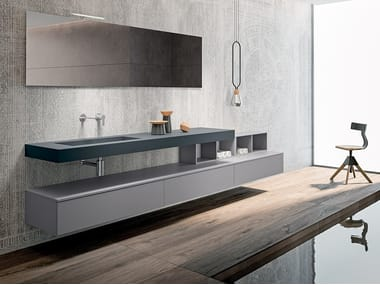 Rectangular wall-mounted Fenix-NTM® washbasin BLUES 2.05