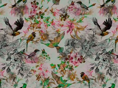 Digital printing wallpaper with floral pattern FUNKY BIRDS