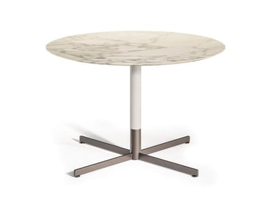 Round Calacatta Oro marble coffee table with 4-star base BOB BISTROT   Calacatta Oro marble coffee table