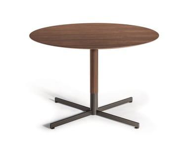 Round walnut high side table with 4-star base BOB BISTROT   Walnut coffee table