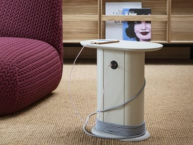 Oval metal coffee table with USB BOBINO