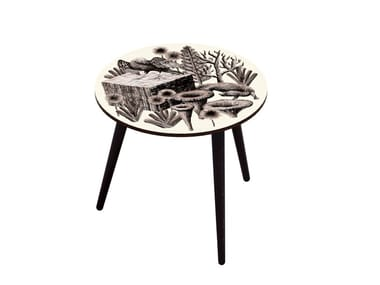 Beech wood and HPL side table BOCAGE BELETTE SEPIA M