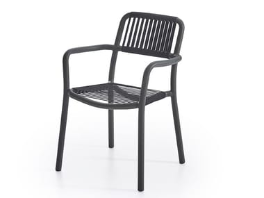 Powder coated aluminium chair with armrests BOLD | Chair