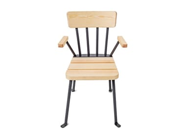 Steel and wood garden chair with armrests BOLLNÄS | Chair with armrests