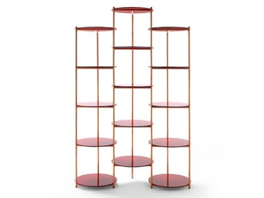 Open copper bookcase with glass shelves LONG PLAYING | Bookcase