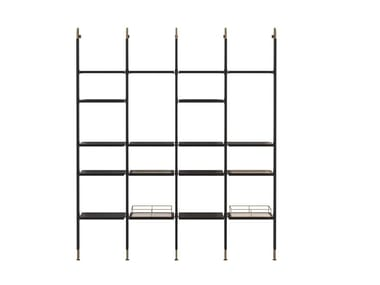Open floor-ceiling mounted aluminium bookcase HIS | Bookcase