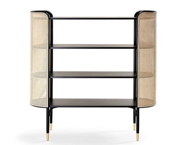 Open beech bookcase with woven cane inserts MOS | Bookcase