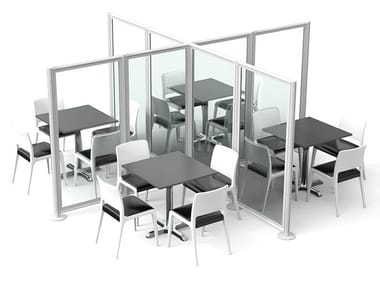 Divisorio modulare in alluminio e policarbonato BORA