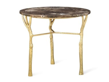 Round brass and marble high side table BOSQUE