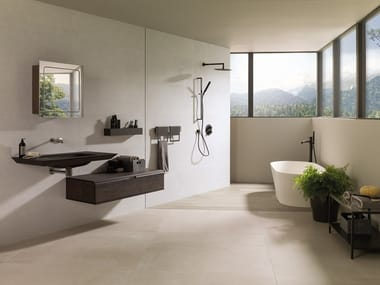 Indoor/outdoor porcelain stoneware flooring with concrete effect BOTTEGA WHITE