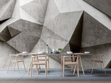 Digital printing wallpaper with concrete effect BOULDER