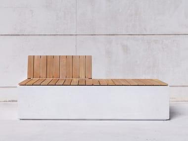 Panchina modulare in calcestruzzo con schienale BOX WB