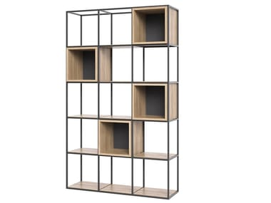 Open steel and wood bookcase BOXER