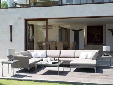 Sofá de jardín composable de plástico de esquina con chaiselongue BRAFTA | Sofá de jardín composable