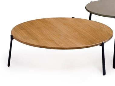 Round aluminium and wood garden side table BRANCH | Aluminium and wood coffee table