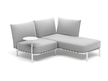 Canapé 2 places en tissu avec revêtement amovible avec méridienne BREA | Canapé composable