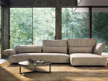 Sectional leather sofa BRERA | Sofa with chaise longue