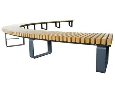 Round backless wooden Bench BRESSANONE