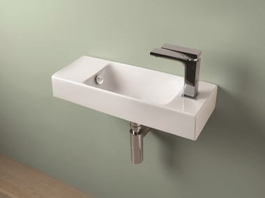 Rectangular wall-mounted ceramic handrinse basin BRICK