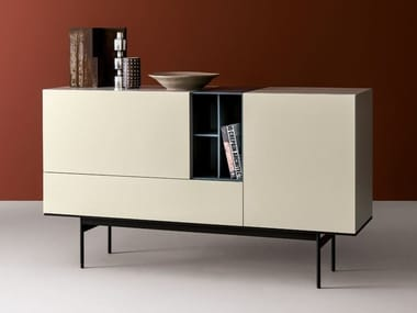 Modular lacquered wooden sideboard BRICK | Lacquered sideboard