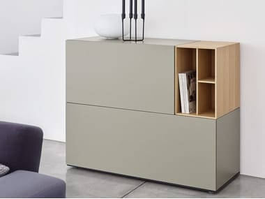 Modular lacquered wooden sideboard with drawers BRICK | Sideboard with drawers