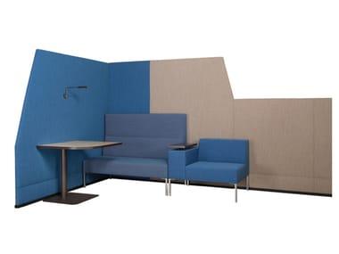 Schallabsorbierende Schreibtischtrennwand aus Stoff BRICKS WALL COMBINATION