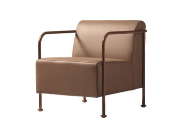 Leather armchair with armrests BRIDGE 817
