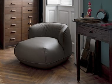 Upholstered leather armchair BRIONI | Leather armchair
