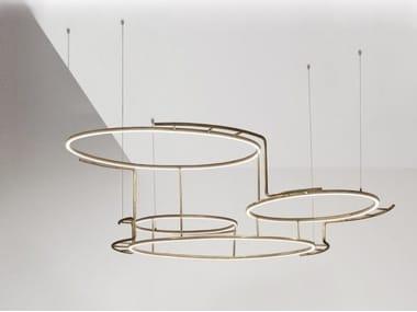 LED brass pendant lamp BROCHE