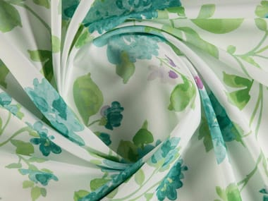 Printed cotton fabric with floral pattern for curtains BRONTE