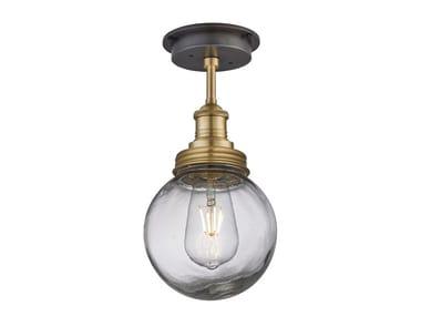 Lampada da soffitto per esterno in ottone e vetro BROOKLYN GLOBE | Lampada da soffitto