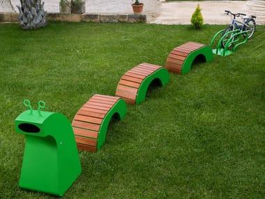Sedute, cestino e portabici in acciaio zincato per bambini BRUCHETTO