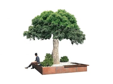 Wooden Bench with Integrated Planter BRUNICO