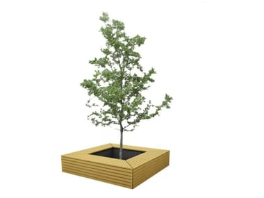 Wooden Bench with Integrated Planter BRUNICO S