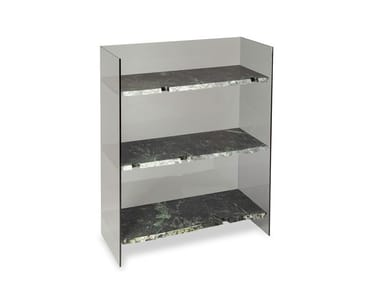 Open glass and marble bookcase BRUT