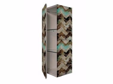 Tall MDF bathroom wall cabinet with door BS-3