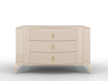 Lacquered chest of drawers with integrated handles BUSTER | Chest of drawers