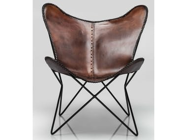Leather armchair BUTTERFLY BROWN ECO