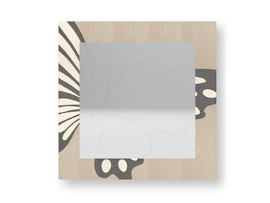 Square wall-mounted framed mirror BUTTERFLY COLD | Mirror