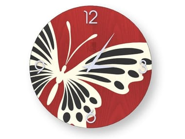 Wall clock made of inlayed wood BUTTERFLY COLORS | Clock