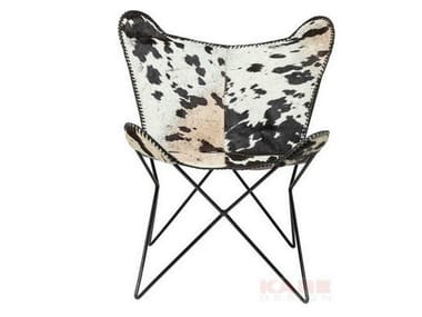 Classic style cowhide armchair BUTTERFLY COW RIVET