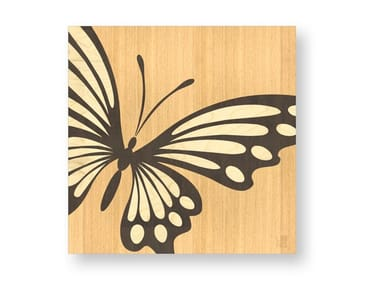 Decorative panel made of inlayed wood BUTTERFLY WARM