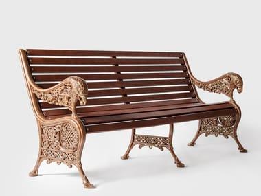 Panca da giardino in alluminio e legno con braccioli BYZANTIUM | Panca da giardino